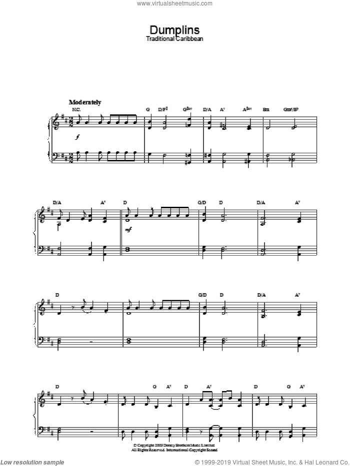 Dumplins sheet music for piano solo. Score Image Preview.