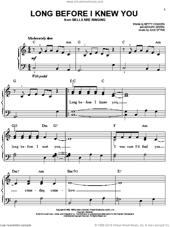 Long Before I Knew You sheet music for piano solo by Betty Comden, Adolph Green and Jule Styne, easy. Score Image Preview.