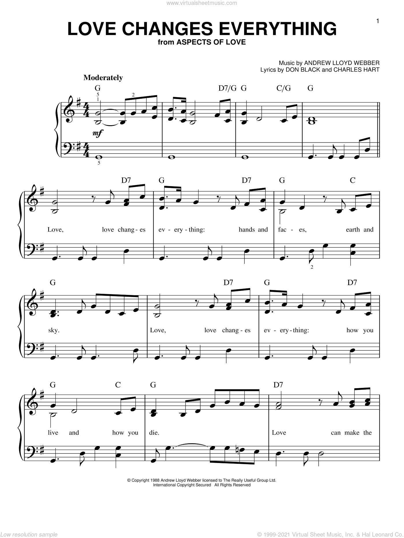 Love Changes Everything (from Aspects of Love), (easy) sheet music for piano solo by Andrew Lloyd Webber, Aspects Of Love (Musical), Charles Hart and Don Black, easy skill level