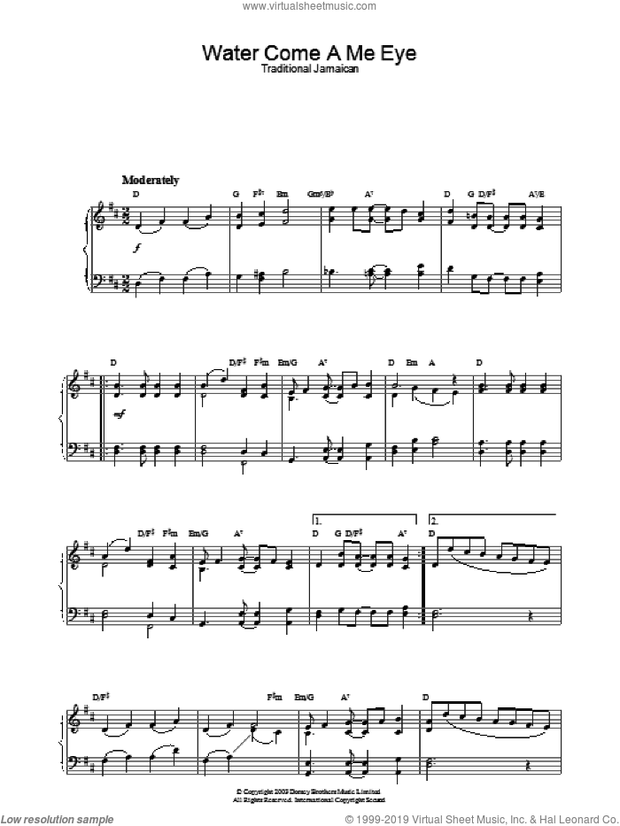 Water Come A Me Eye sheet music for piano solo. Score Image Preview.
