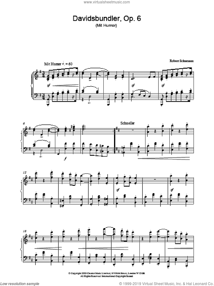 Davidsbundler, Op. 6 (Mit Humor) sheet music for piano solo by Robert Schumann. Score Image Preview.