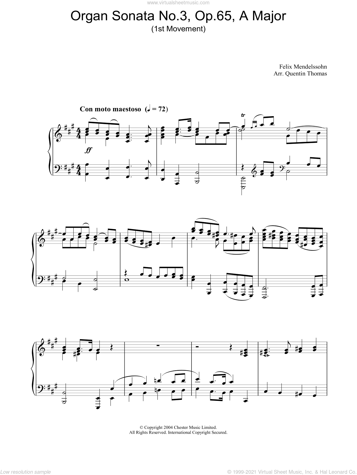 Organ Sonata No.3, Op.65, A Major sheet music for piano solo by Felix Mendelssohn-Bartholdy, classical score, intermediate skill level