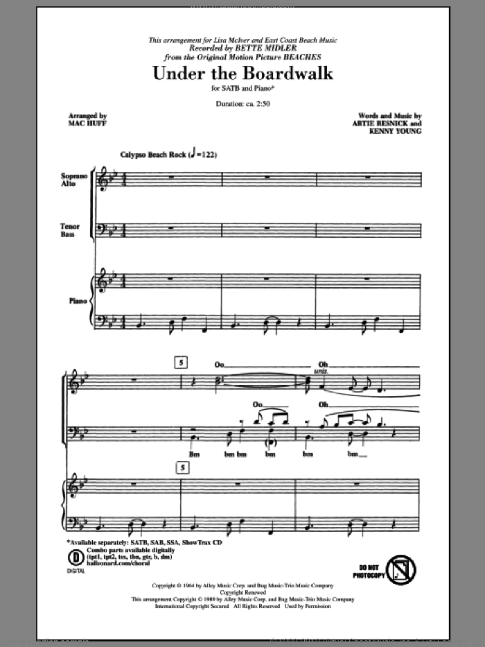 Under The Boardwalk sheet music for choir (SATB: soprano, alto, tenor, bass) by Kenny Young, Artie Resnick, Bette Midler, Mac Huff and The Drifters, intermediate skill level
