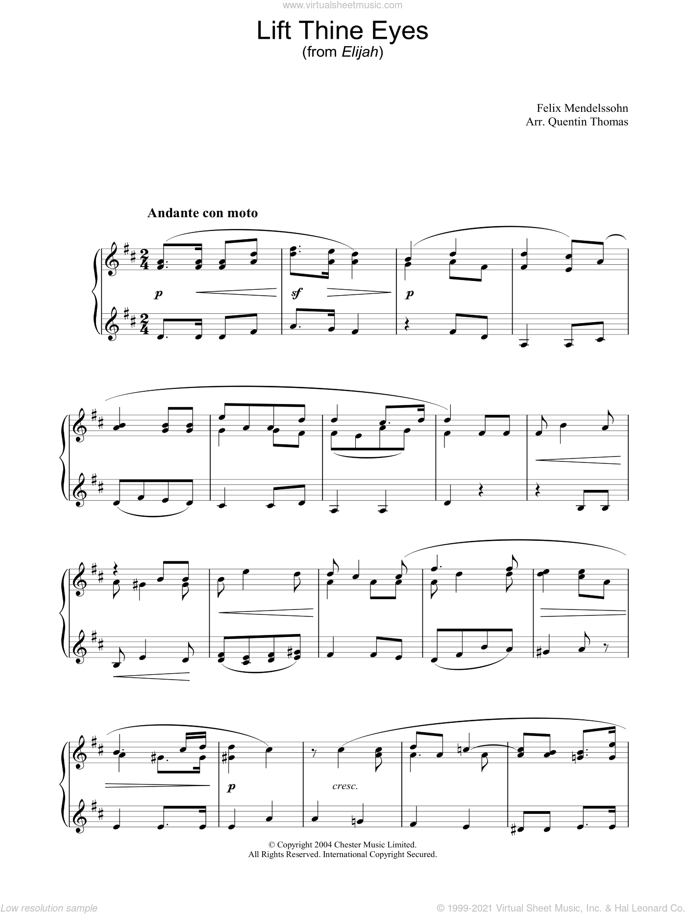 Lift Thine Eyes sheet music for piano solo by Felix Mendelssohn-Bartholdy. Score Image Preview.