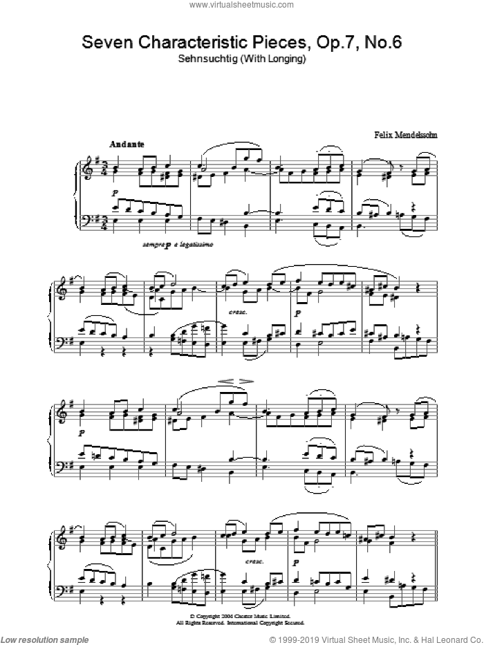 Seven Characteristic Pieces, Op.7, No.6 sheet music for piano solo by Felix Mendelssohn-Bartholdy, classical score, intermediate piano. Score Image Preview.