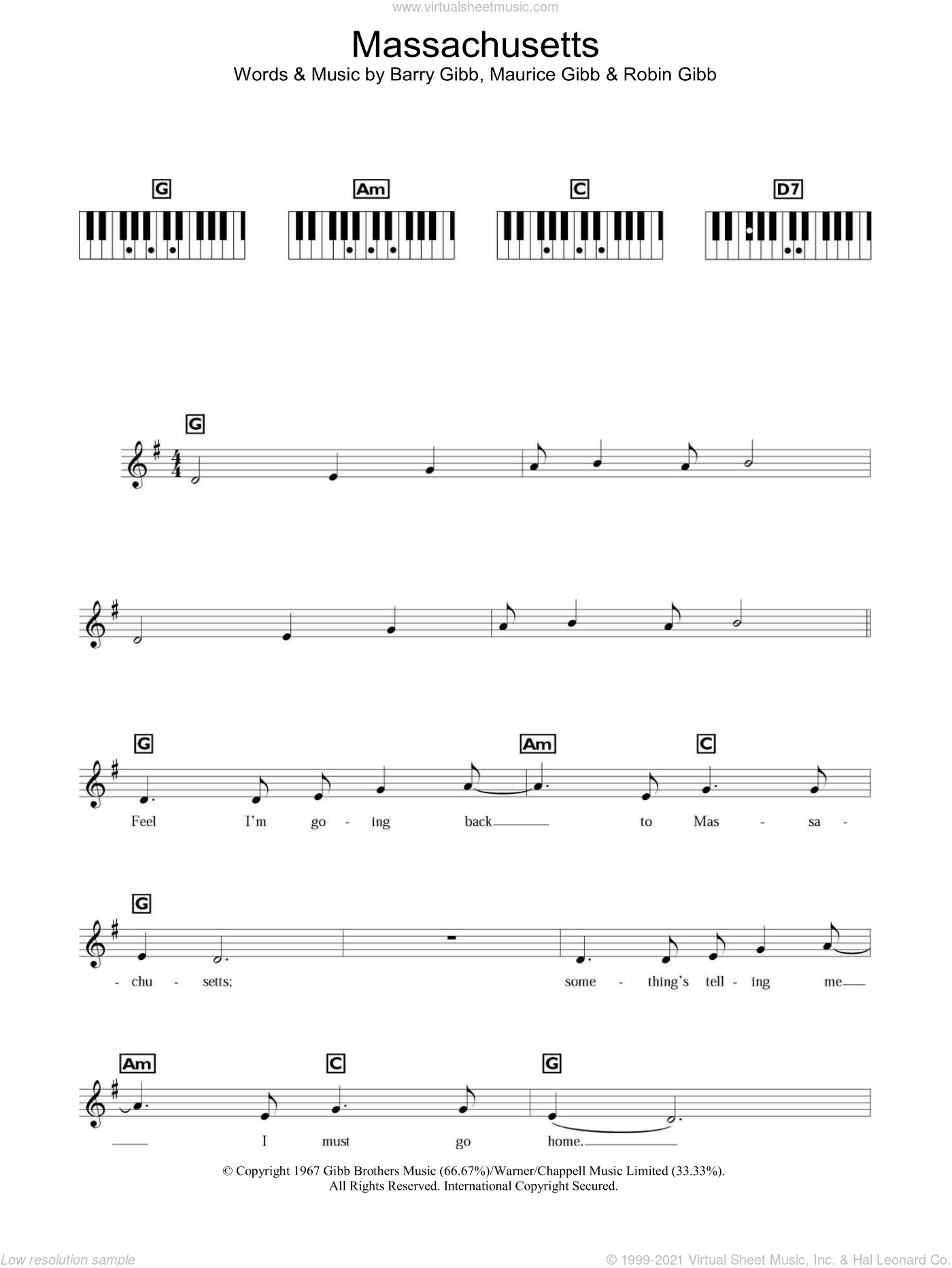 Massachusetts (The Lights Went Out) sheet music for piano solo (chords, lyrics, melody) by Bee Gees, Barry Gibb, Maurice Gibb and Robin Gibb, intermediate piano (chords, lyrics, melody). Score Image Preview.
