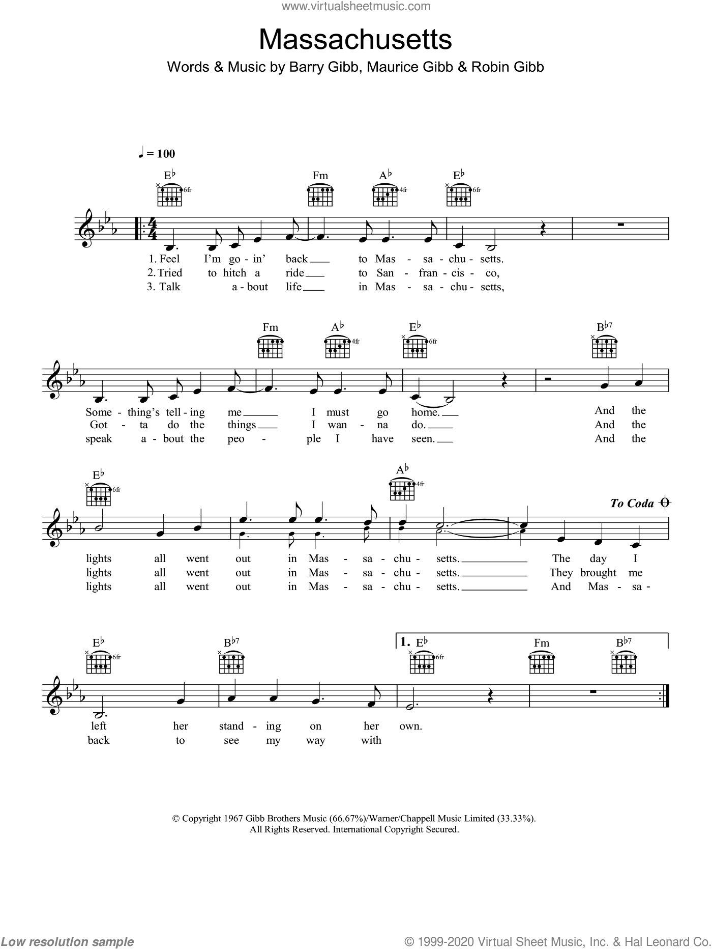 Massachusetts (The Lights Went Out) sheet music for voice and other instruments (fake book) by Bee Gees, Barry Gibb, Maurice Gibb and Robin Gibb, intermediate skill level