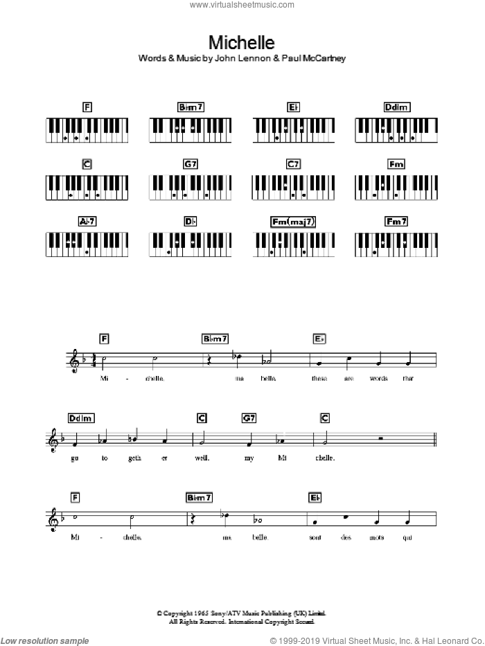 Michelle sheet music for piano solo (chords, lyrics, melody) by The Beatles, John Lennon and Paul McCartney, intermediate piano (chords, lyrics, melody). Score Image Preview.