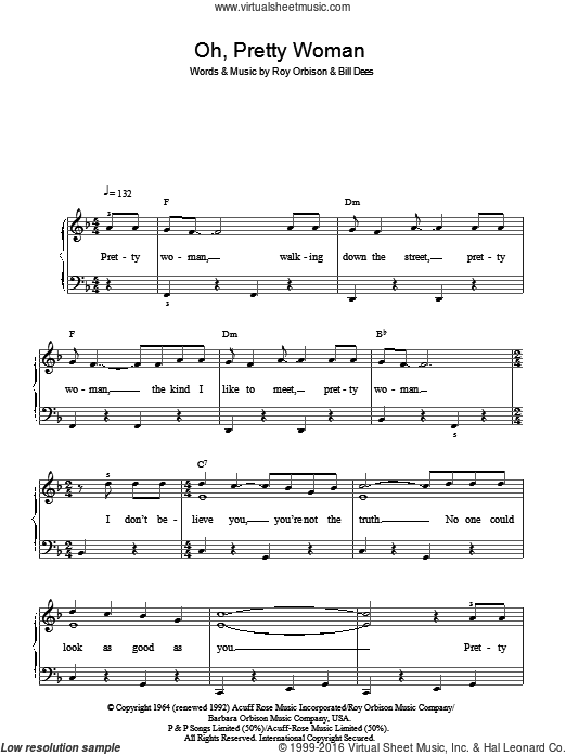 Oh, Pretty Woman sheet music for piano solo by Roy Orbison. Score Image Preview.