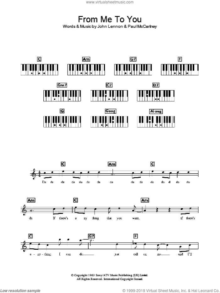 From Me To You sheet music for piano solo (chords, lyrics, melody) by Paul McCartney, The Beatles and John Lennon. Score Image Preview.