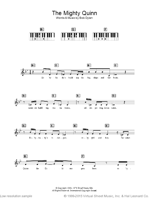 Quinn The Eskimo (The Mighty Quinn) sheet music for piano solo (chords, lyrics, melody) by Bob Dylan