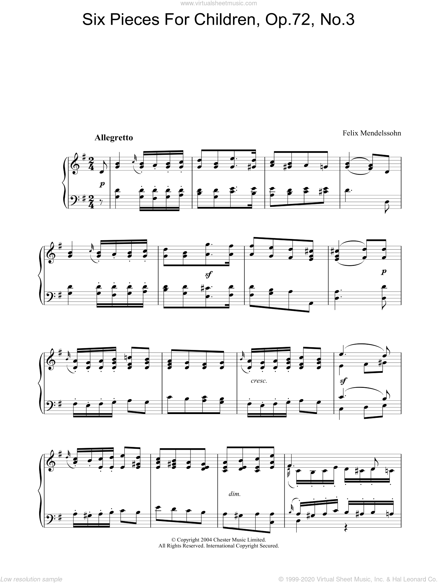 Six Pieces For Children, Op.72, No.3 sheet music for piano solo by Felix Mendelssohn-Bartholdy, classical score, intermediate skill level