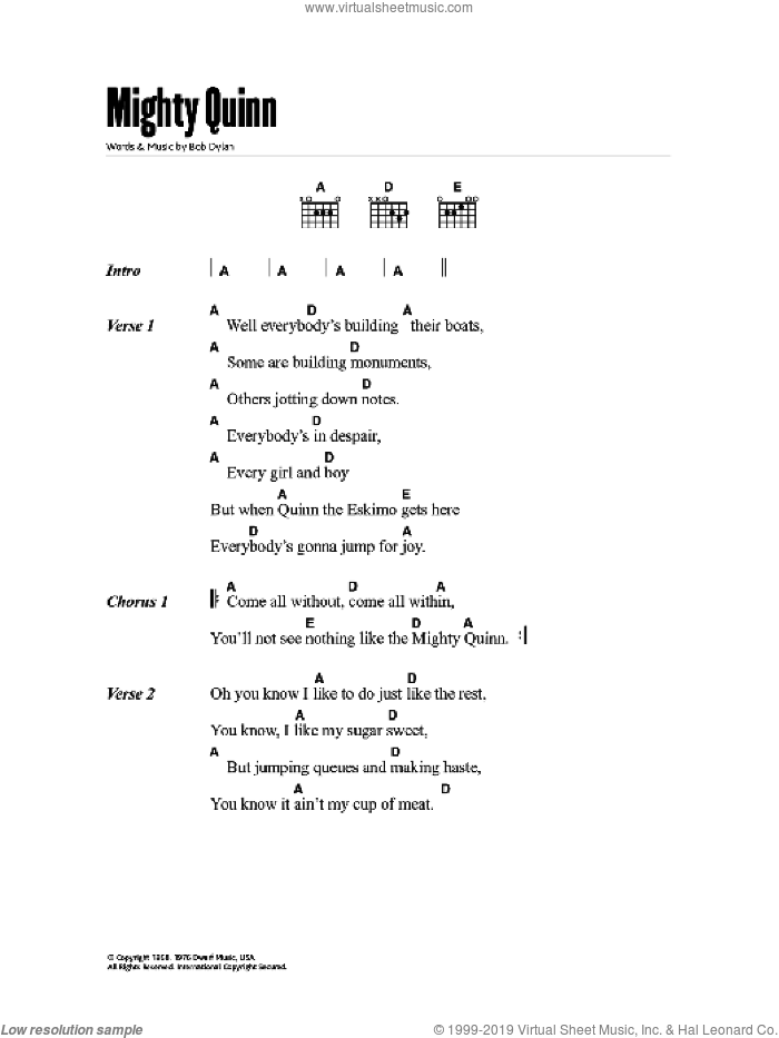 Quinn The Eskimo (The Mighty Quinn) sheet music for guitar (chords) by Bob Dylan, intermediate skill level