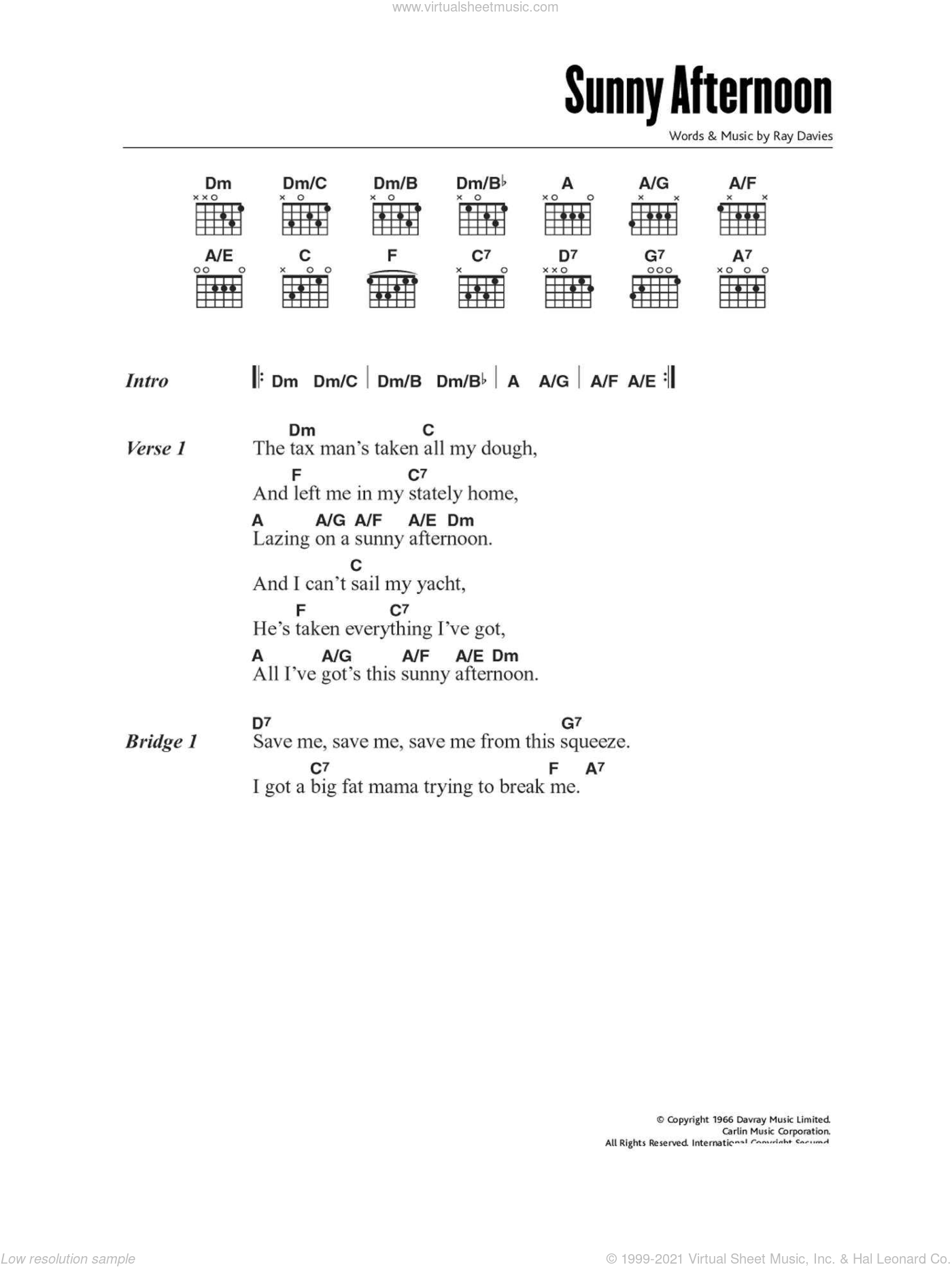 Kinks Sunny Afternoon Sheet Music For