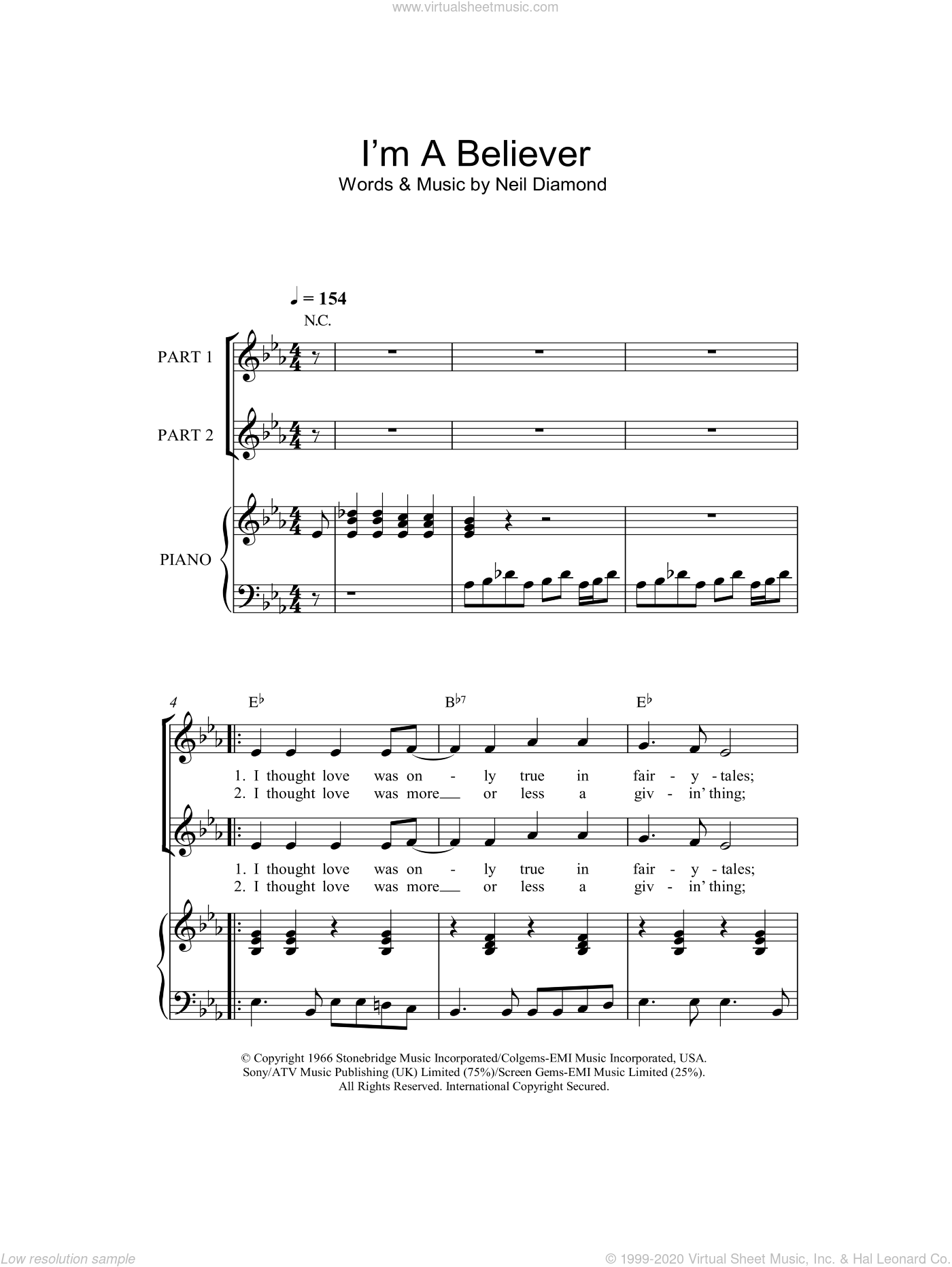 I'm A Believer sheet music for choir and piano (duets) by The Monkees
