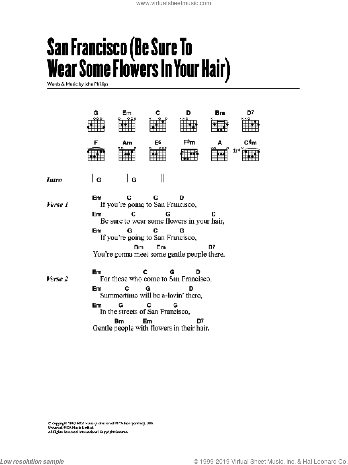 San Francisco (Be Sure To Wear Some Flowers In Your Hair) sheet music for guitar (chords) by John Phillips and Scott McKenzie. Score Image Preview.