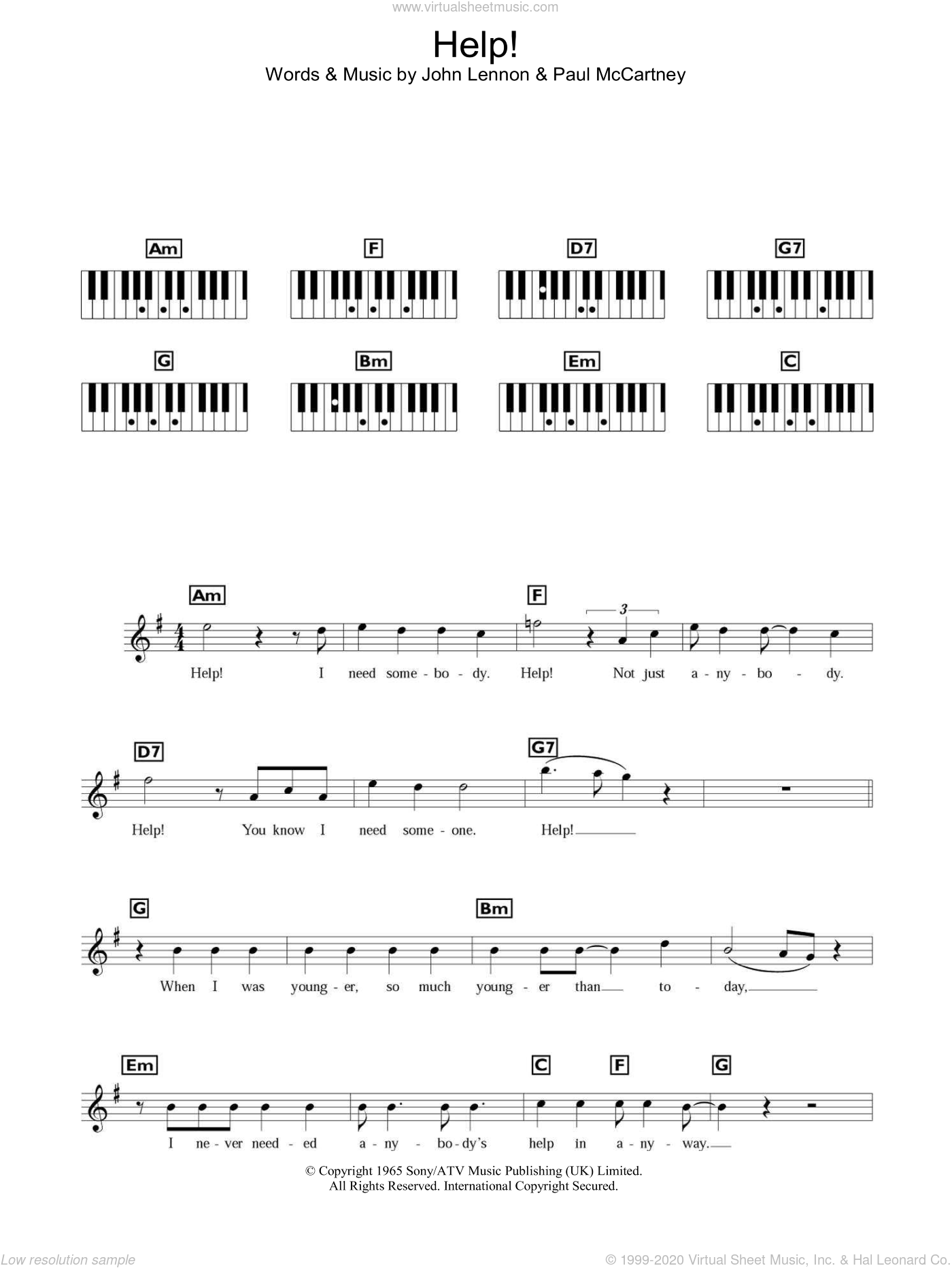 Help! sheet music for piano solo (chords, lyrics, melody) by The Beatles, John Lennon and Paul McCartney, intermediate piano (chords, lyrics, melody)