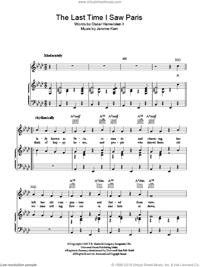 The Last Time I Saw Paris sheet music for voice, piano or guitar by Jerome Kern and Oscar Hammerstein, intermediate skill level