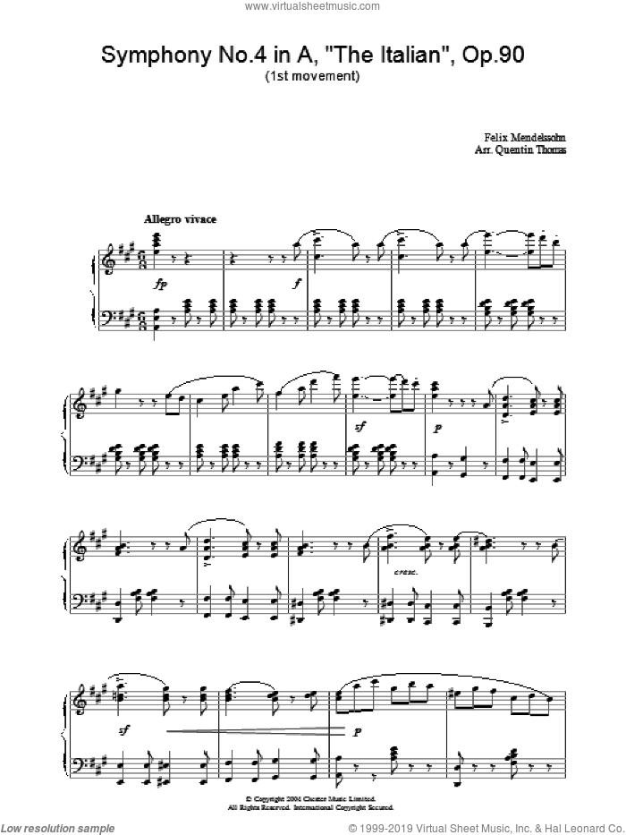 Symphony No.4 in A, 'The Italian', Op.90 (1st Movement) sheet music for piano solo by Felix Mendelssohn-Bartholdy. Score Image Preview.