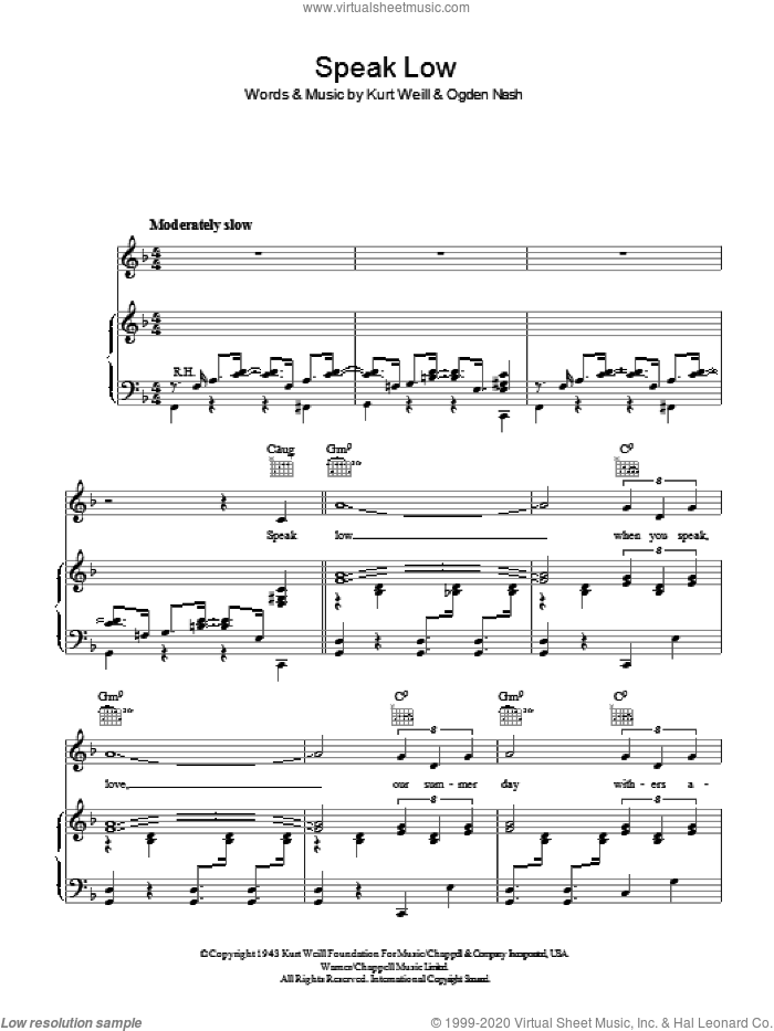 Speak Low sheet music for voice, piano or guitar by Ogden Nash