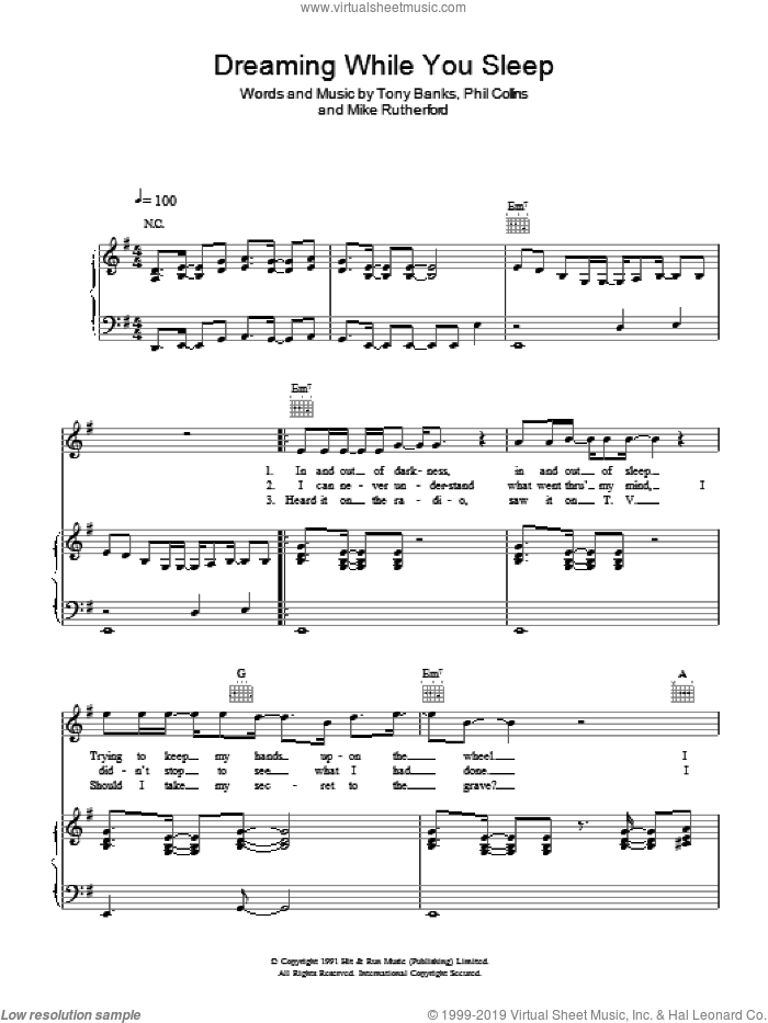 Dreaming While You Sleep sheet music for voice, piano or guitar by Genesis and Phil Collins. Score Image Preview.