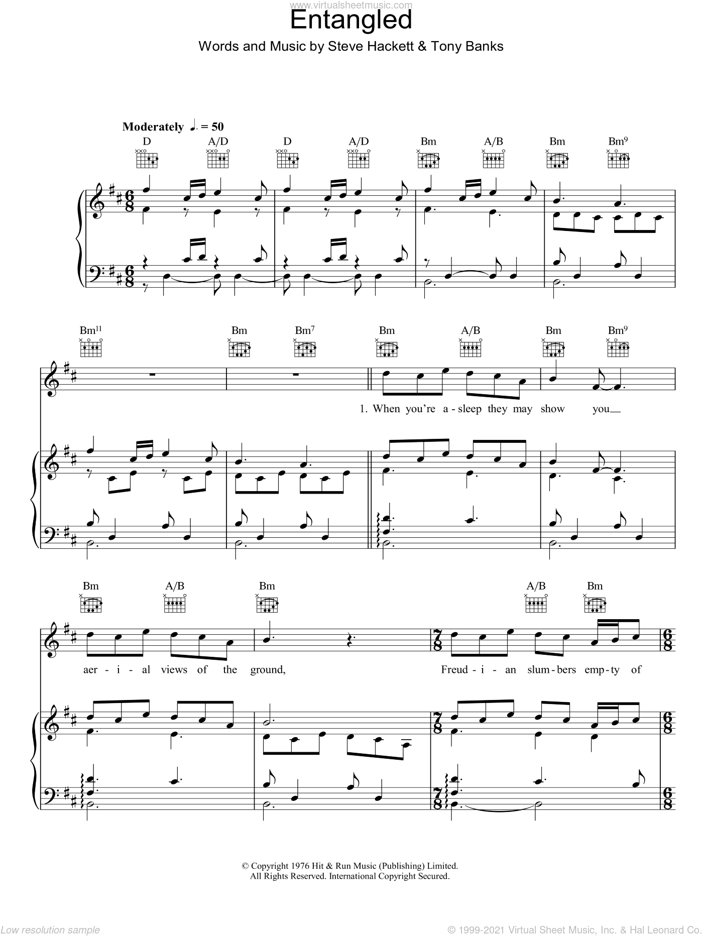 Entangled sheet music for voice, piano or guitar by Genesis, Steve Hackett and Tony Banks, intermediate skill level