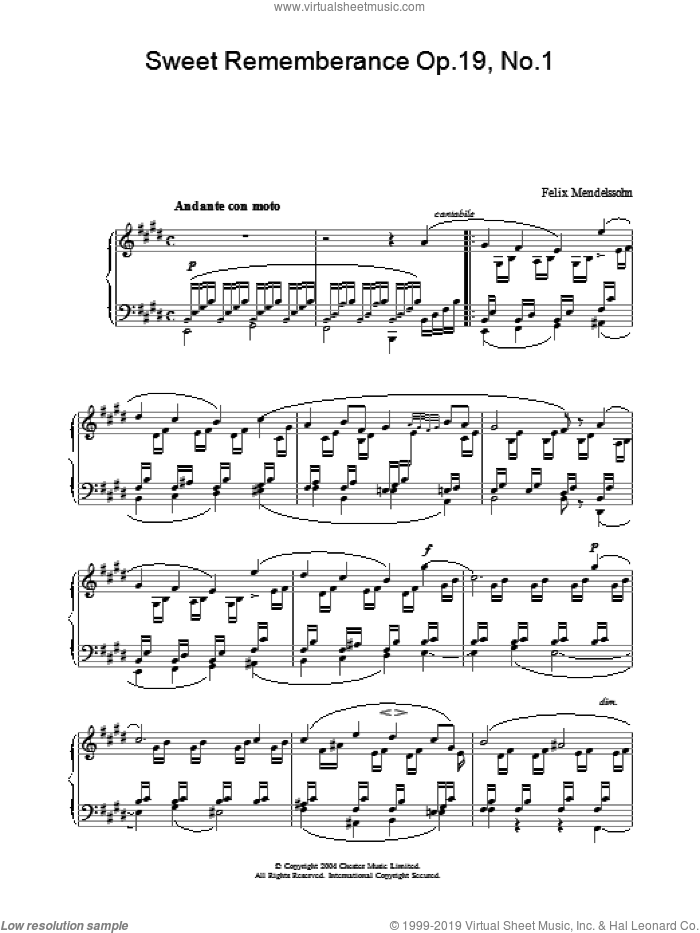 Sweet Rememberance Op.19, No.1 sheet music for piano solo by Felix Mendelssohn-Bartholdy, classical score, intermediate. Score Image Preview.