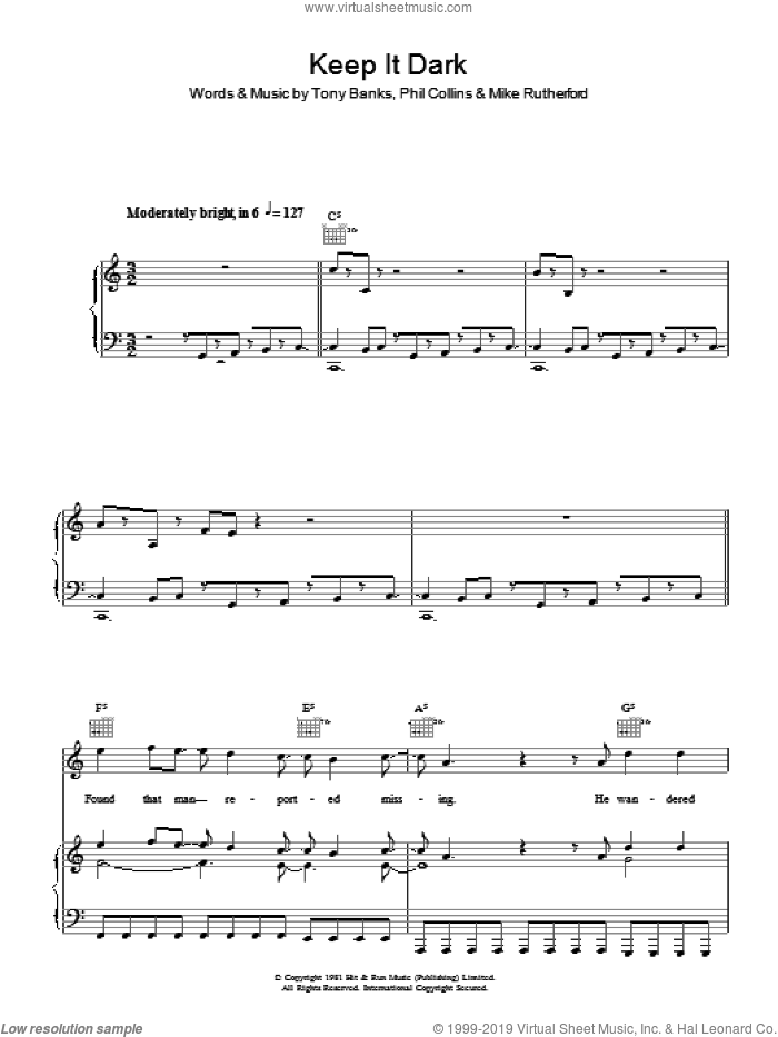 Keep It Dark sheet music for voice, piano or guitar by Genesis, Mike Rutherford, Phil Collins and Tony Banks, intermediate. Score Image Preview.