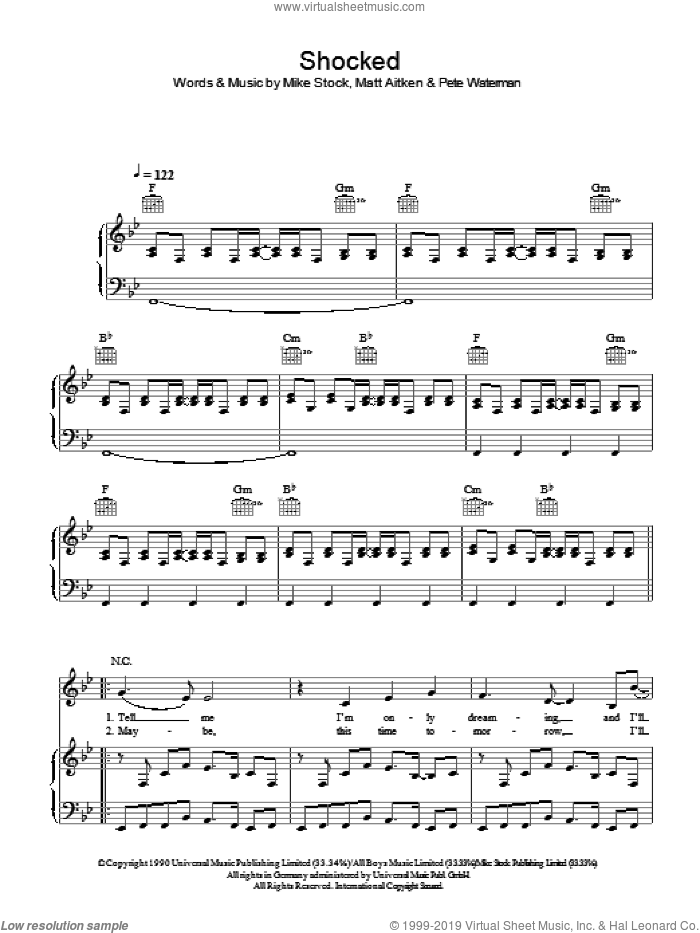 Shocked sheet music for voice, piano or guitar by Matt Aitken