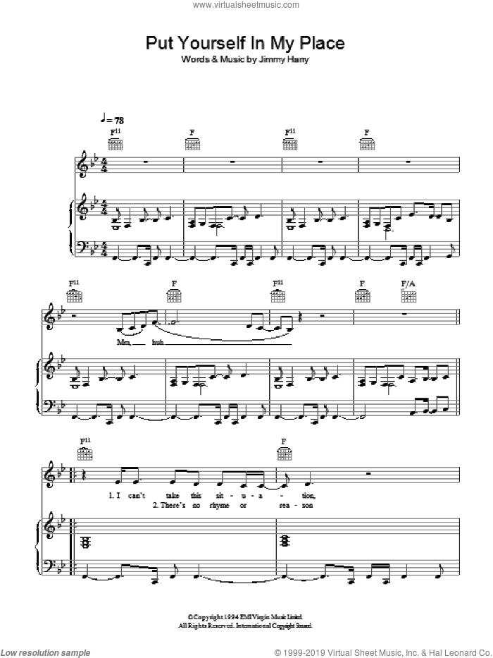 Put Yourself In My Place sheet music for voice, piano or guitar by Kylie Minogue and Jimmy Harry, intermediate. Score Image Preview.