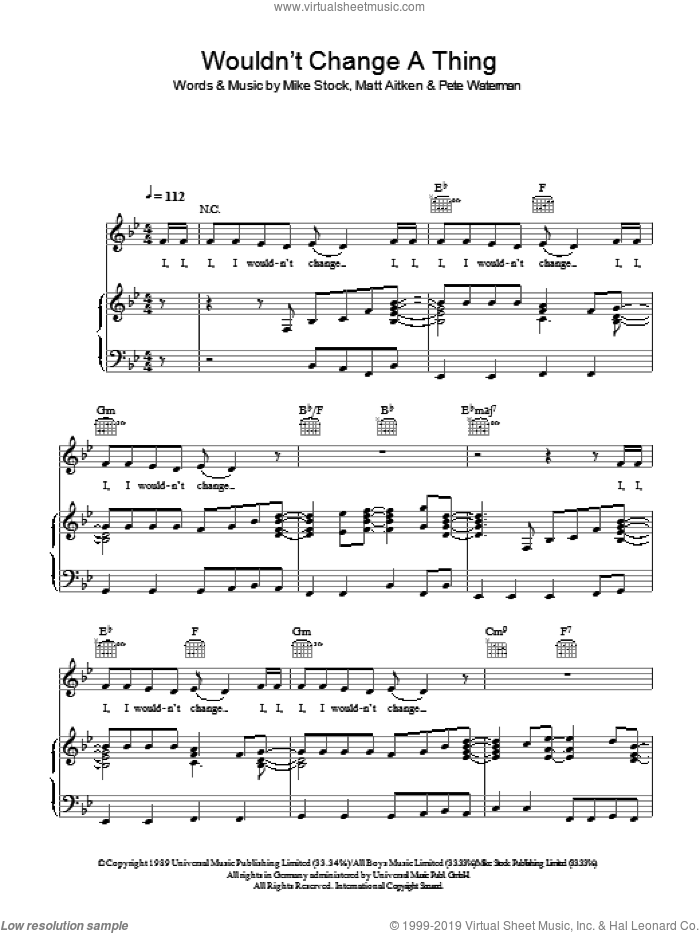 Wouldn't Change A Thing sheet music for voice, piano or guitar by Matt Aitken