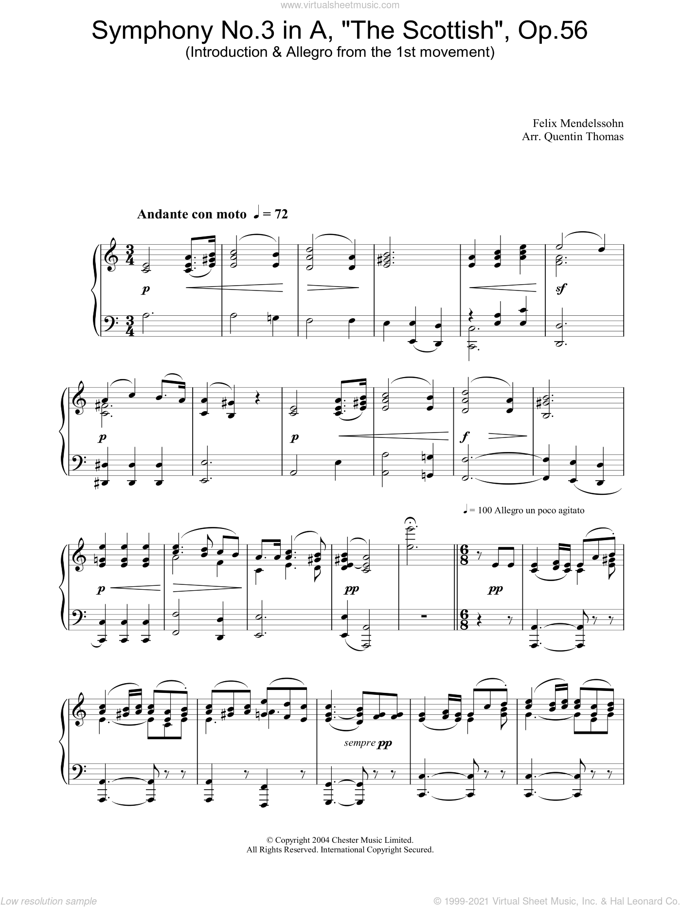 Symphony No.3 in A, 'The Scottish', Op.56 (Introduction and Allegro from the 1st movement) sheet music for piano solo by Felix Mendelssohn-Bartholdy. Score Image Preview.