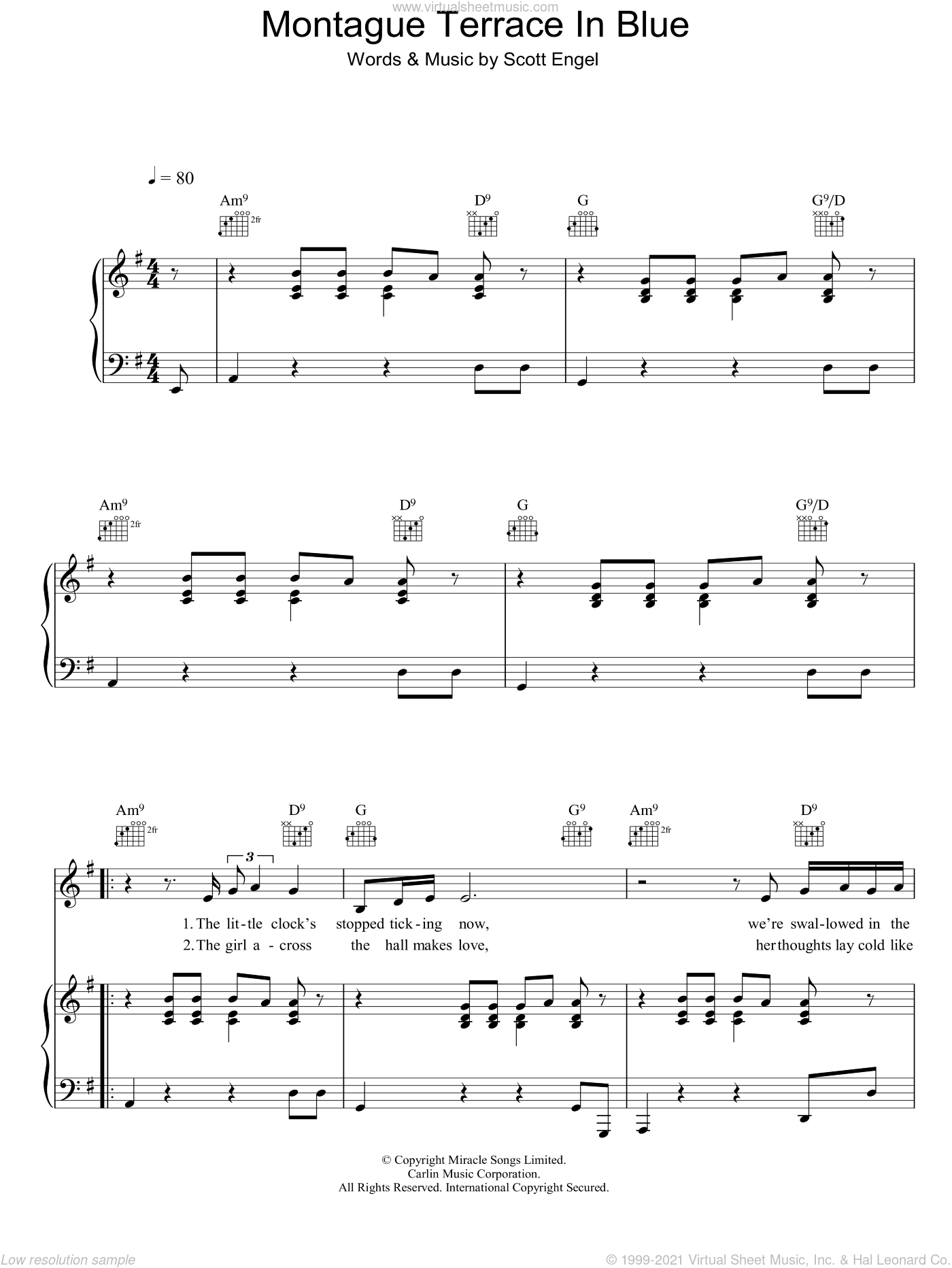Montague Terrace In Blue sheet music for voice, piano or guitar by Scott Engel and Scott Walker