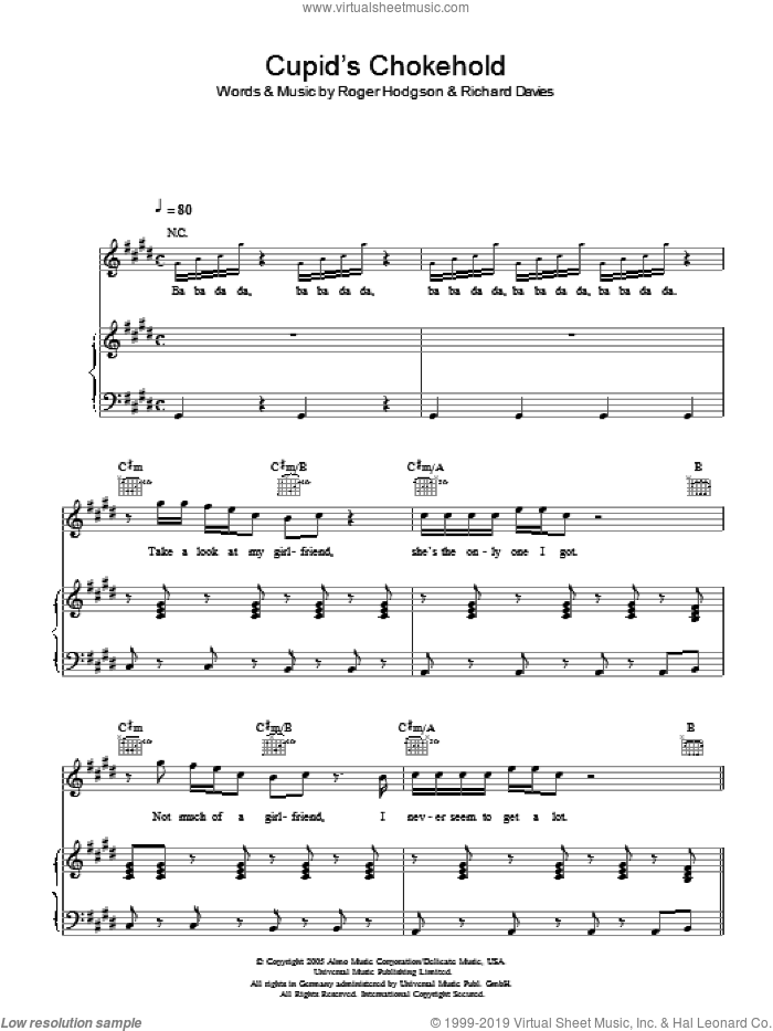 Cupid's Chokehold sheet music for voice, piano or guitar by Rick Davies
