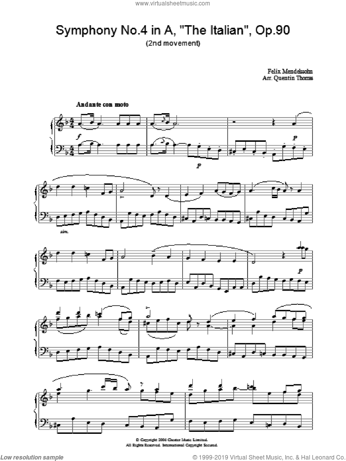 Symphony No.4 in A, 'The Italian', Op.90 (2nd Movement) sheet music for piano solo by Felix Mendelssohn-Bartholdy. Score Image Preview.