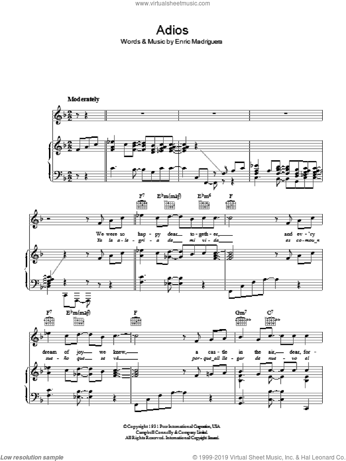 Adios sheet music for voice, piano or guitar by Enric Madriguera. Score Image Preview.