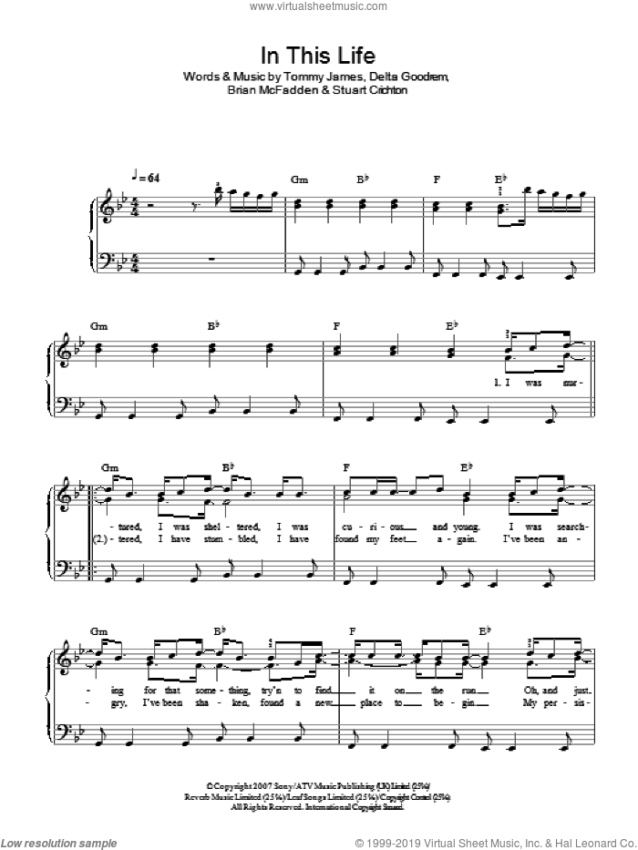 In This Life sheet music for piano solo by Delta Goodrem, Brian McFadden, Stuart Crichton and Tommy James, easy