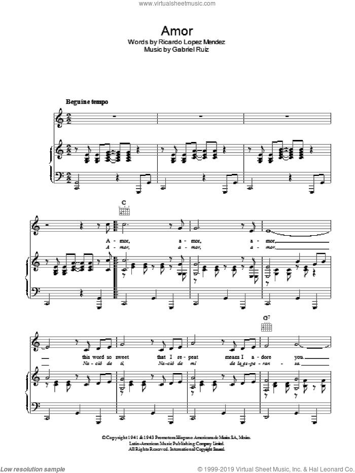 Amor sheet music for voice, piano or guitar by Gabriel Ruiz and Ricardo Lopez Mendez, intermediate skill level