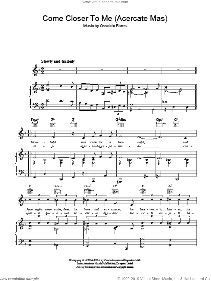 Cole - Come Closer To Me (Acercate Mas) sheet music for voice, piano or  guitar