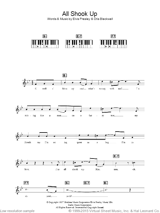 All Shook Up sheet music for piano solo (chords, lyrics, melody) by Otis Blackwell