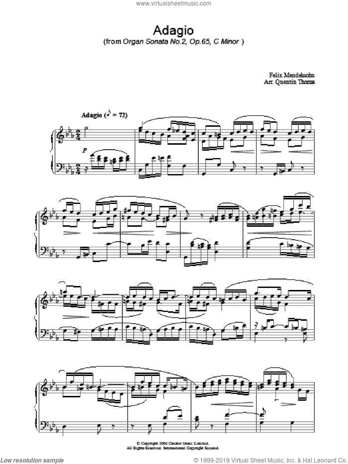 Adagio sheet music for piano solo by Felix Mendelssohn-Bartholdy. Score Image Preview.