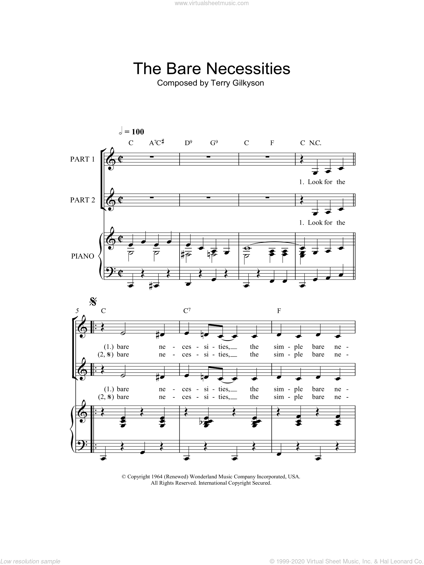 The Bare Necessities sheet music for choir and piano (duets) by Terry Gilkyson