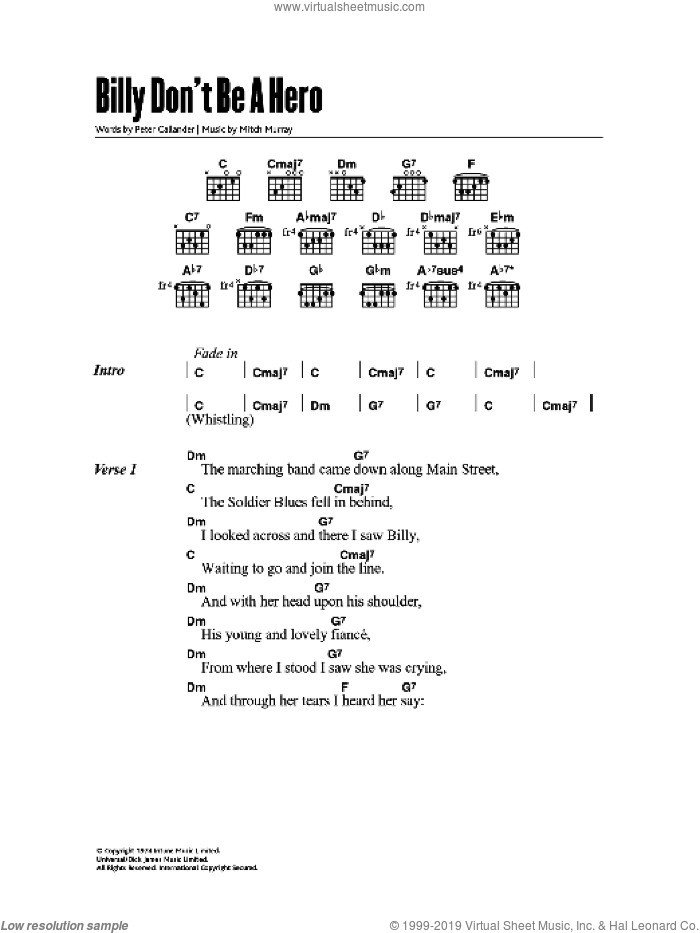 Billy, Don't Be A Hero sheet music for guitar (chords) by Paper Lace, intermediate guitar (chords). Score Image Preview.