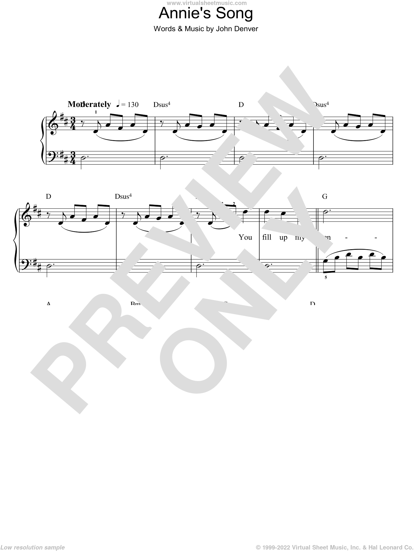 Annie's Song sheet music for piano solo by John Denver, easy skill level