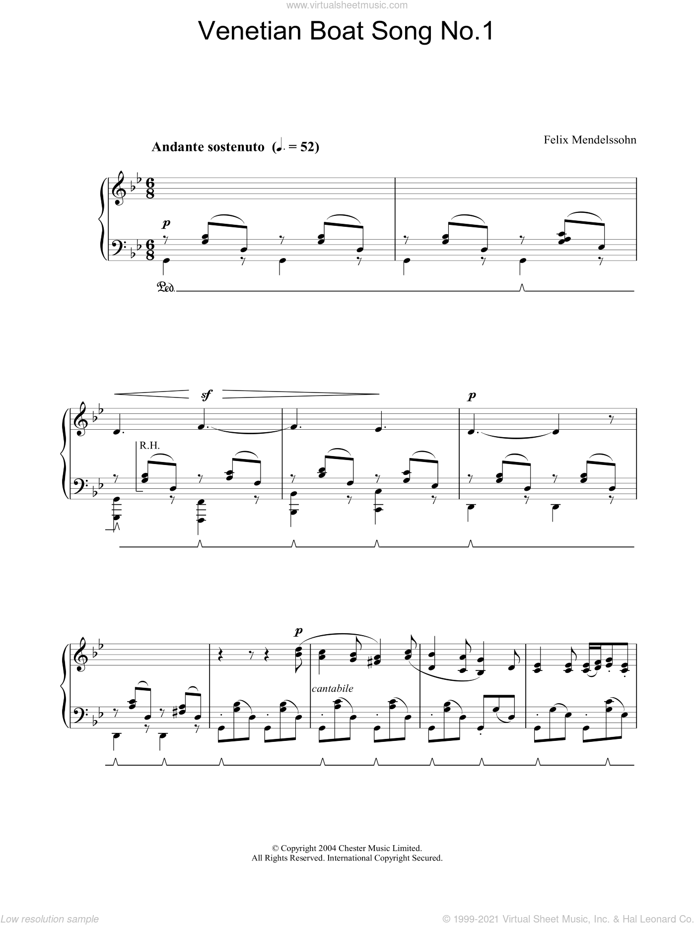 Venetian Boat Song No.1 sheet music for piano solo by Felix Mendelssohn-Bartholdy. Score Image Preview.