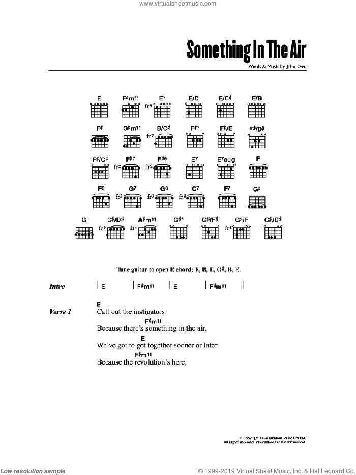 Something In The Air sheet music for guitar solo (chords, lyrics, melody) by John Keen