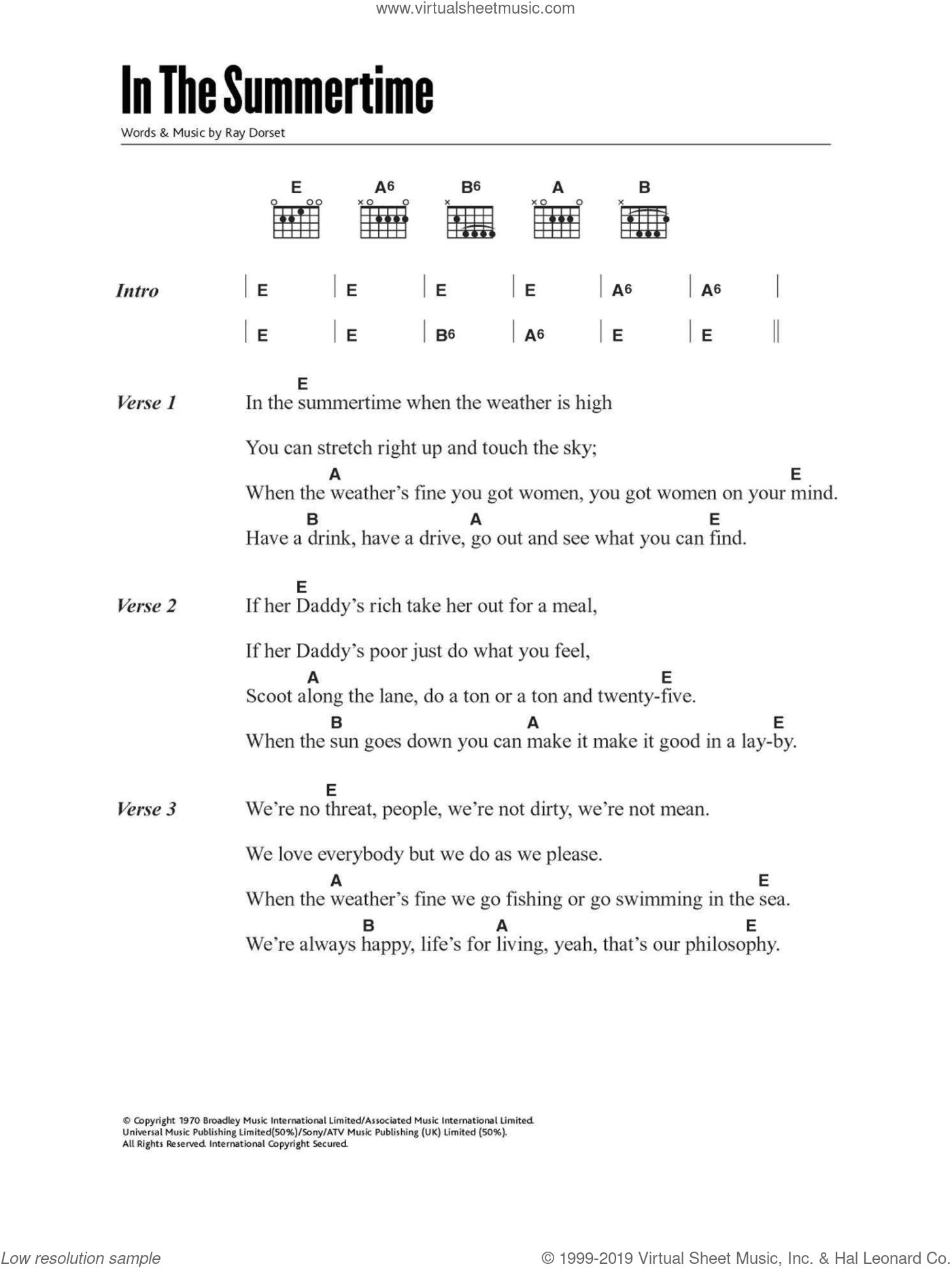In The Summertime sheet music for guitar (chords) by Mungo Jerry and Ray Dorset, intermediate skill level