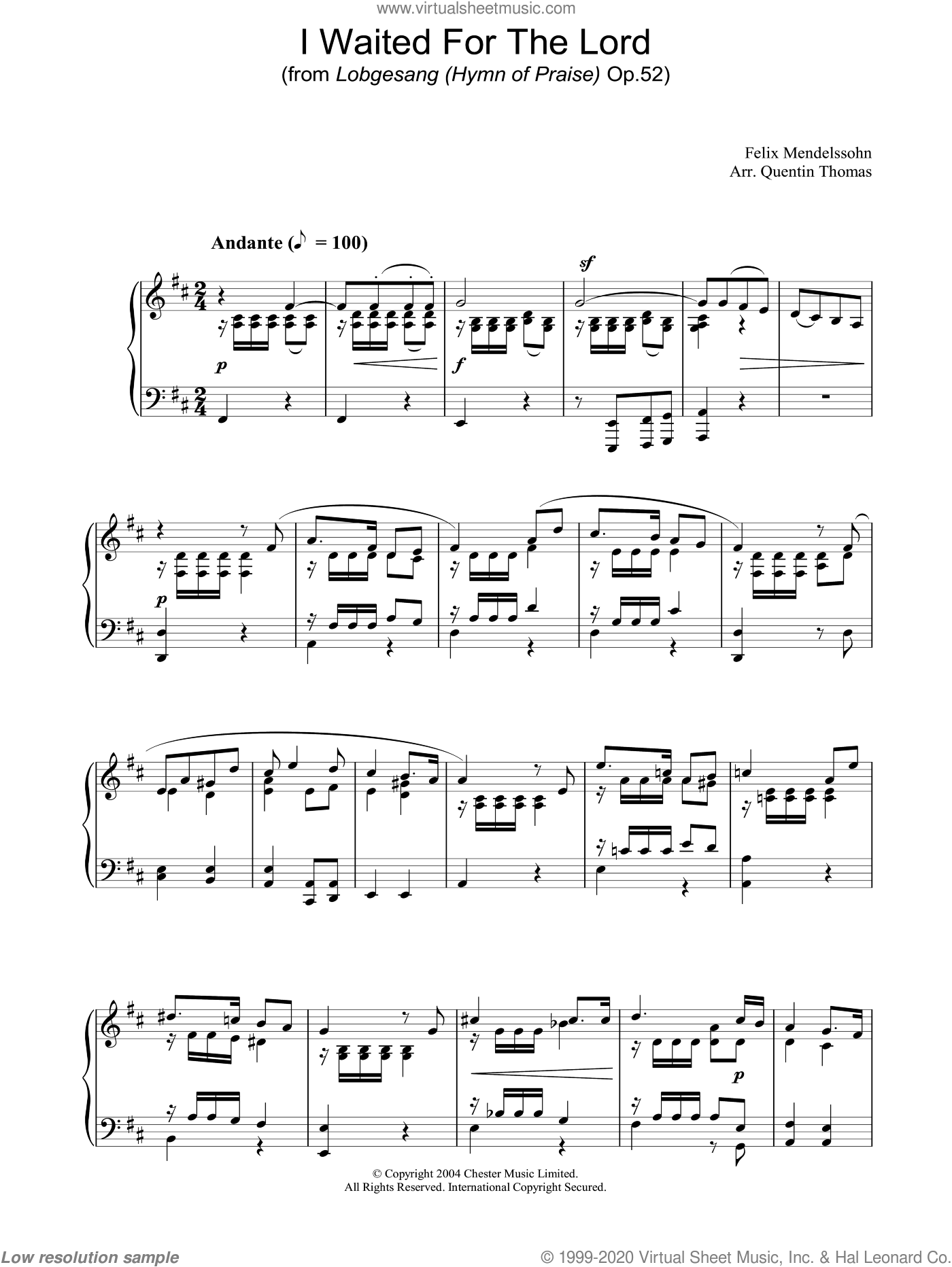 I Waited For The Lord sheet music for piano solo by Felix Mendelssohn-Bartholdy, classical score, intermediate skill level