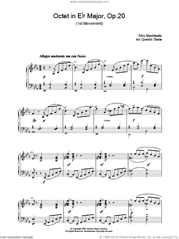 Octet in Eb Major, Op.20 sheet music for piano solo by Felix Mendelssohn-Bartholdy, classical score, intermediate skill level