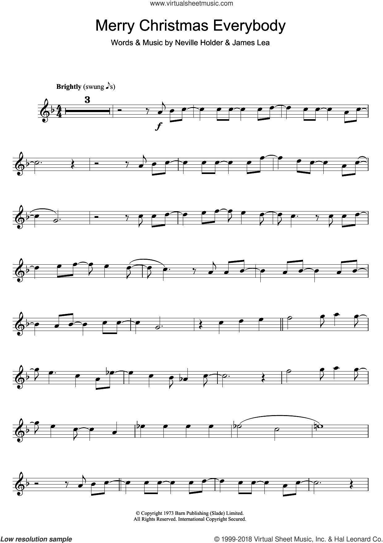 Merry Xmas Everybody sheet music for flute solo by Mud, S Club 7, Slade, James Lea and Neville Holder, intermediate skill level
